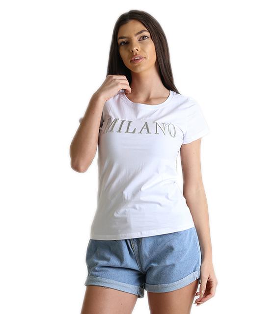 Λευκή μπλούζα με κεντητή επιγραφή