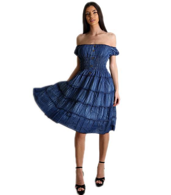 Τζιν φόρεμα bardot με σούρα και κουμπιά (Μπλε) ρούχα   φορέματα