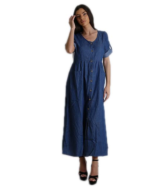 Τζιν φόρεμα μάξι με πατ μανικιών και κουμπιά (Μπλε) ρούχα   φορέματα