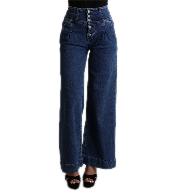 Τζιν παντελόνι καμπάνα ψηλόμεσο με κουμπιά μπροστά ρούχα   bottoms