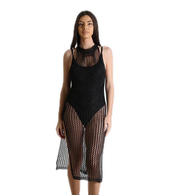 Φόρεμα δίχτυ παραλίας με ανοίγματα (Μαύρο) ρούχα   μαγιό   κιμονό