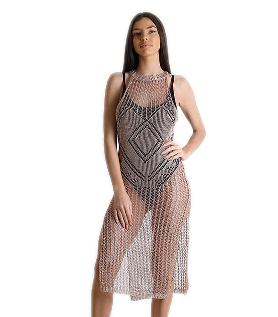 Φόρεμα δίχτυ παραλίας με ανοίγματα (Σαμπανιζέ) ρούχα   μαγιό   κιμονό