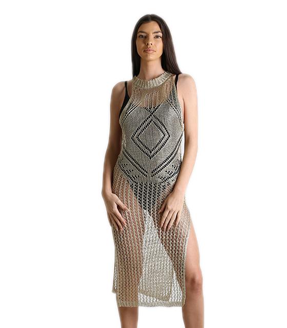 Φόρεμα δίχτυ παραλίας με ανοίγματα (Χρυσό) ρούχα   μαγιό   κιμονό