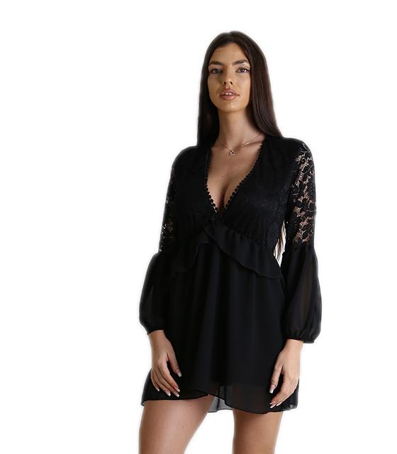 Φόρεμα κρουαζέ δαντέλα με διαφάνεια (Μαύρο) ρούχα   φορέματα