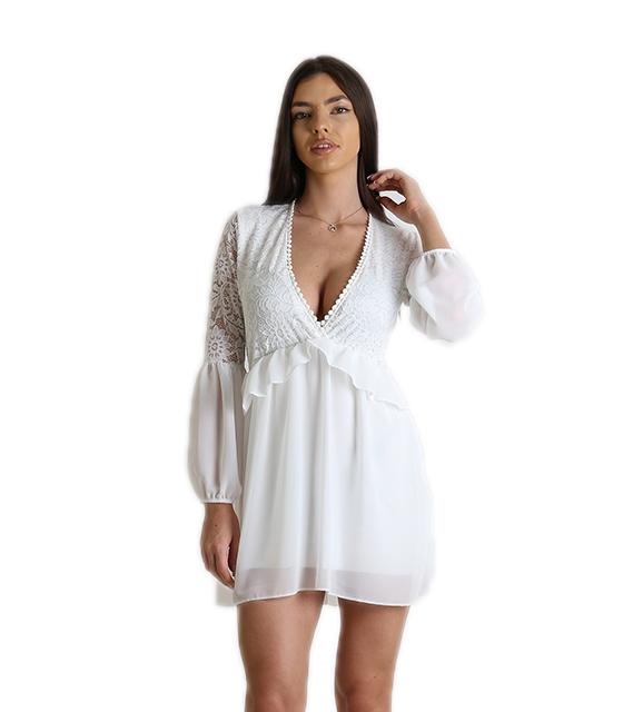 24584c2113c9 Φόρεμα κρουαζέ δαντέλα με διαφάνεια (Λευκό)