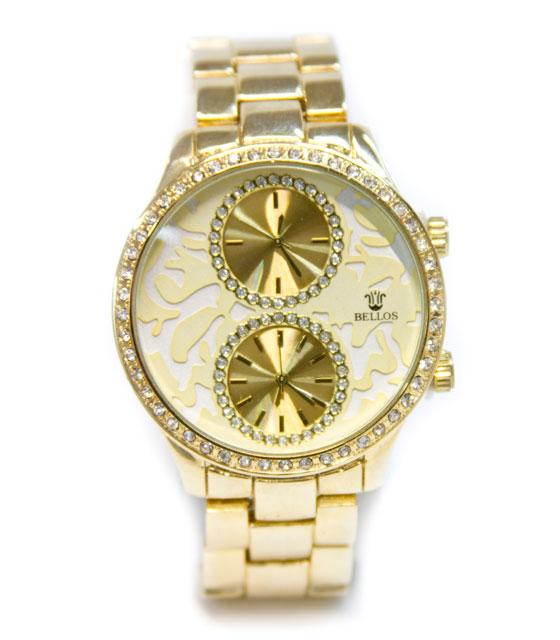 Ρολόι με διπλό καντράν (χρυσό) αξεσουάρ   ρολόγια