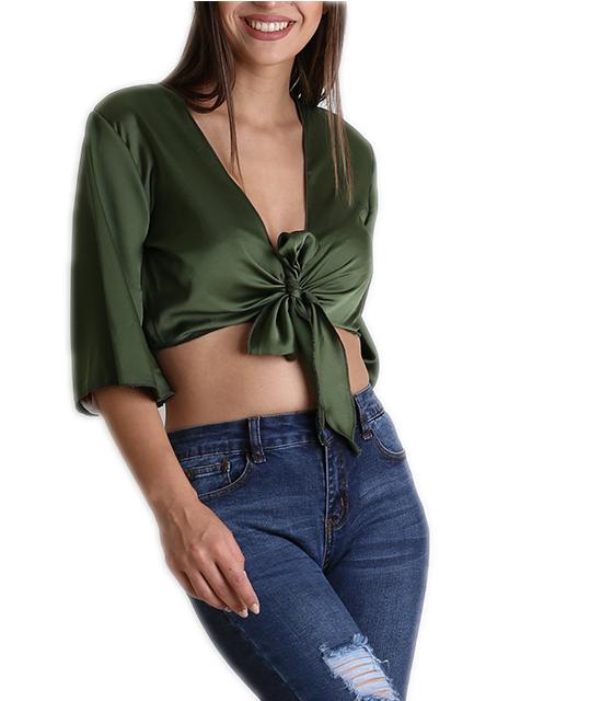 Σατέν τοπ με δέσιμο στο στήθος και 3/4 μανίκι (Πράσινο) ρούχα   μπλούζες   top