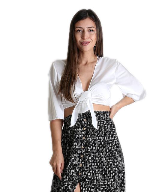 Σατέν τοπ με δέσιμο στο στήθος και 3/4 μανίκι (Λευκό) ρούχα   μπλούζες   top
