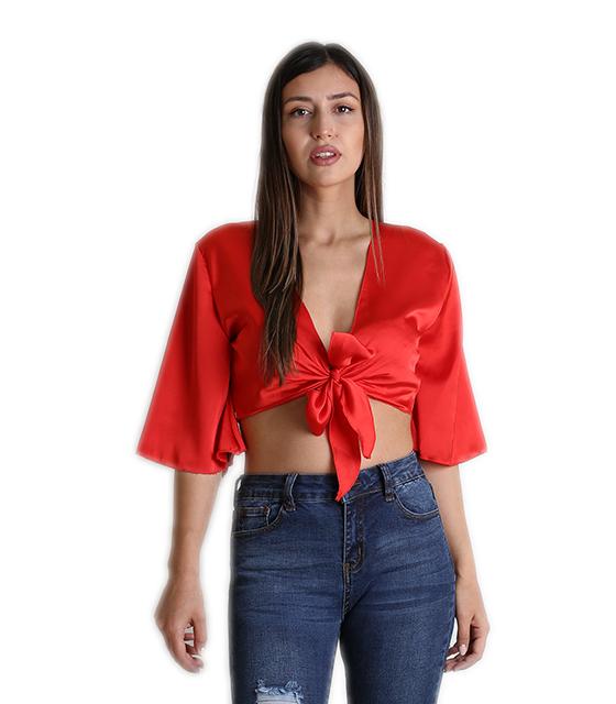 Σατέν τοπ με δέσιμο στο στήθος και 3/4 μανίκι (Κόκκινο) ρούχα   μπλούζες   top