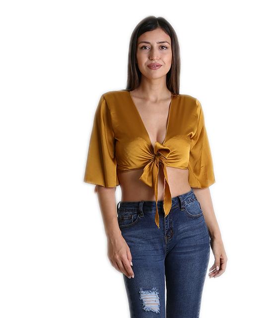 Σατέν τοπ με δέσιμο στο στήθος και 3/4 μανίκι (Κίτρινο) ρούχα   μπλούζες   top
