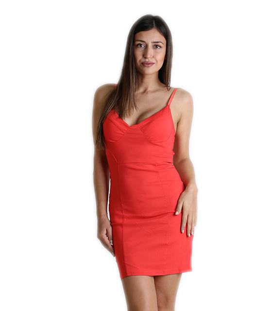 Κόκκινο μίνι φόρεμα με επένδυση και ρυθμιζόμενες τιράντες