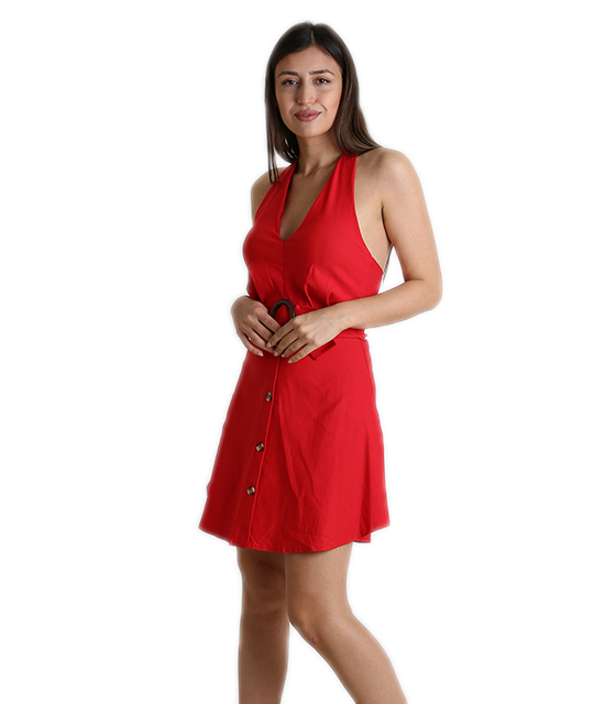 Φόρεμα εξώπλατο με κουμπιά (Κόκκινο)
