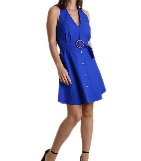 Φόρεμα εξώπλατο με κουμπιά (Μπλε)