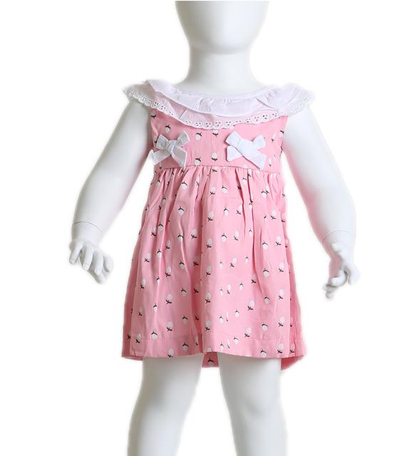 Βρεφικό ροζ φόρεμα αμάνικο με δαντέλα στο λαιμό παιδικά
