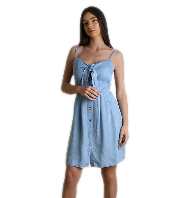 a5dca6d06bda Φόρεμα τζιν με δέσιμο στο στήθος και κουμπιά (Ανοιχτό μπλε)