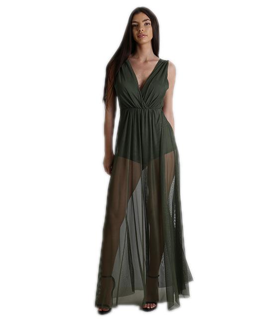 0651bf13a67b Φόρεμα μάξι κρουαζέ με τούλι (Χακί)