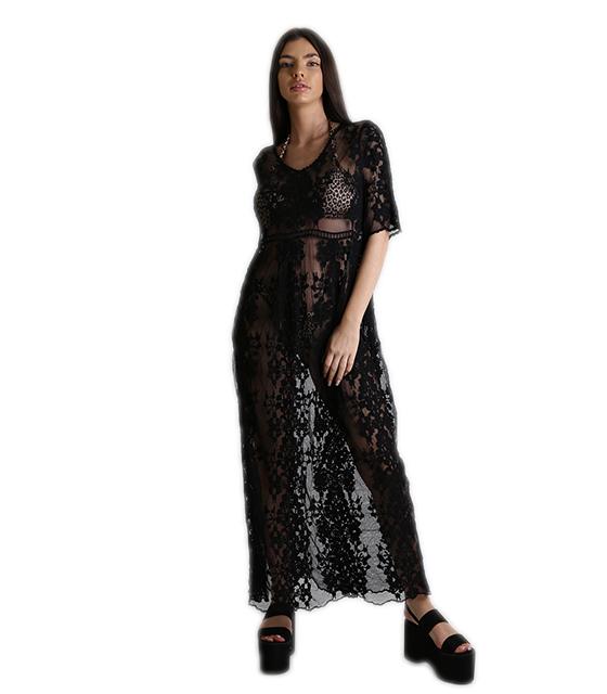 d17e212bf236 Φόρεμα - κιμονό παραλίας δαντέλα μάξι (Μαύρο)