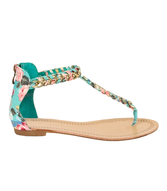 Flat veraman-printed sandals with golden chain