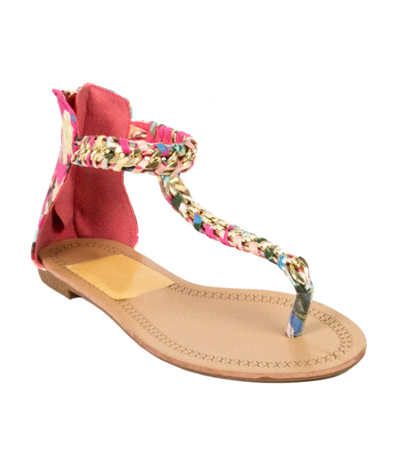 Flat pink-printed sandals with golden chain