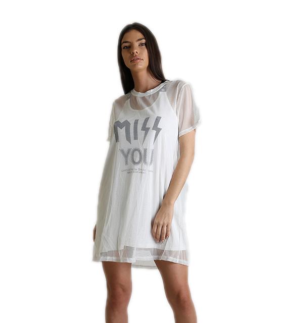 Λευκό φόρεμα με διαφάνεια και στάμπα ''MISS YOU''
