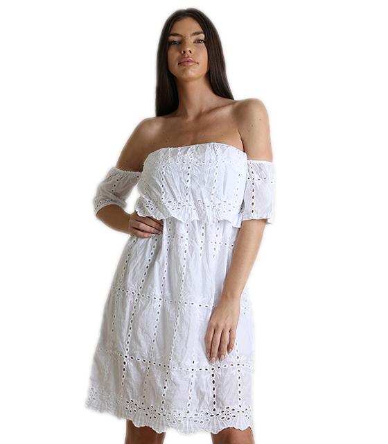 Φόρεμα κιπούρ bardot (Λευκό)