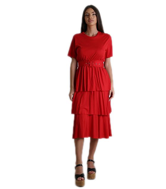 Κοντομάνικο φόρεμα με βολάν και ζώνη (Κόκκινο)