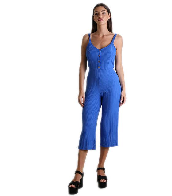 Ολόσωμη φόρμα ριπ με κουμπιά και δέσιμο (Μπλε)