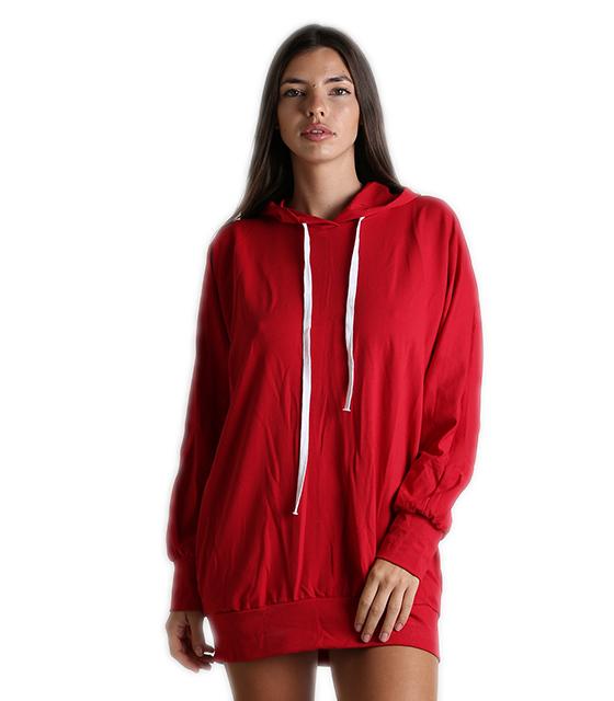 Κόκκινο μίνι φόρεμα φούτερ με τσέπες