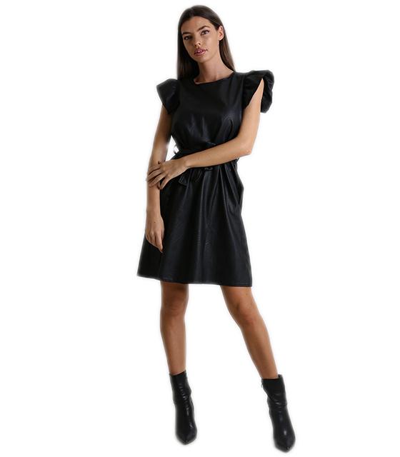 Φόρεμα δερματίνη με φραμπαλά (Μαύρο)