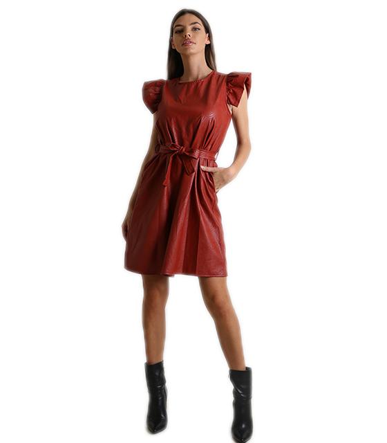 Φόρεμα δερματίνη με φραμπαλά (Μπορντό)