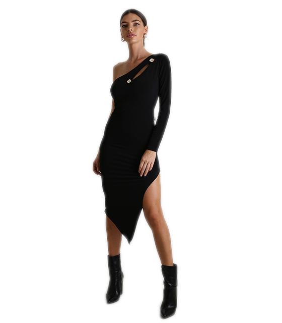 Φόρεμα ελαστικό με ένα μανίκι και κουμπιά (Μαύρο)