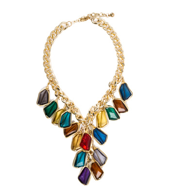 Gold chain necklace with colored transparent stones
