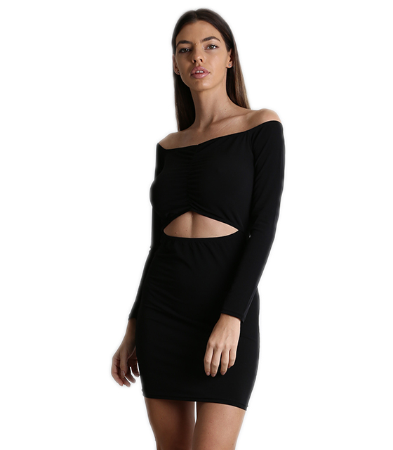 Φόρεμα ελαστικό bardot με άνοιγμα και σούρα (Μαύρο)