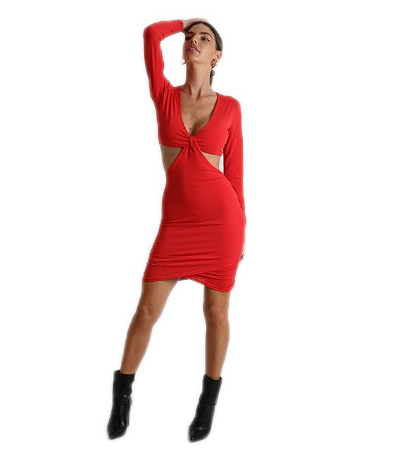 Φόρεμα ελαστικό με κόμπο στο στήθος (Κόκκινο)