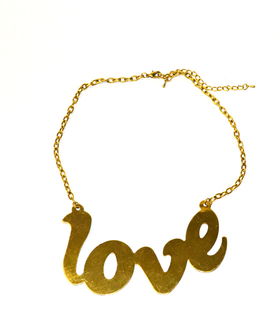Gold Necklace Love