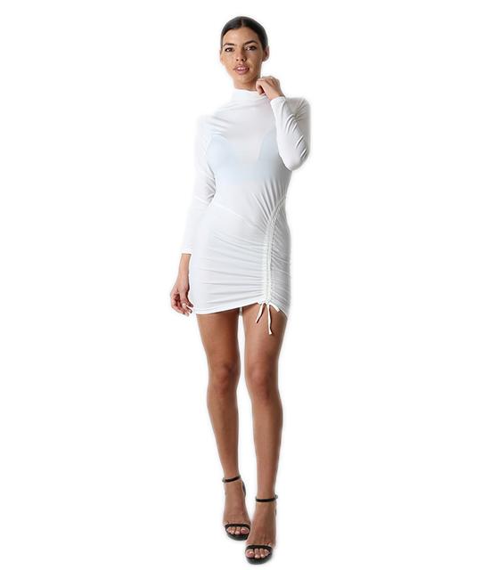Φόρεμα ζιβάγκο με λεπτομέρεια σούρα (Λευκό)