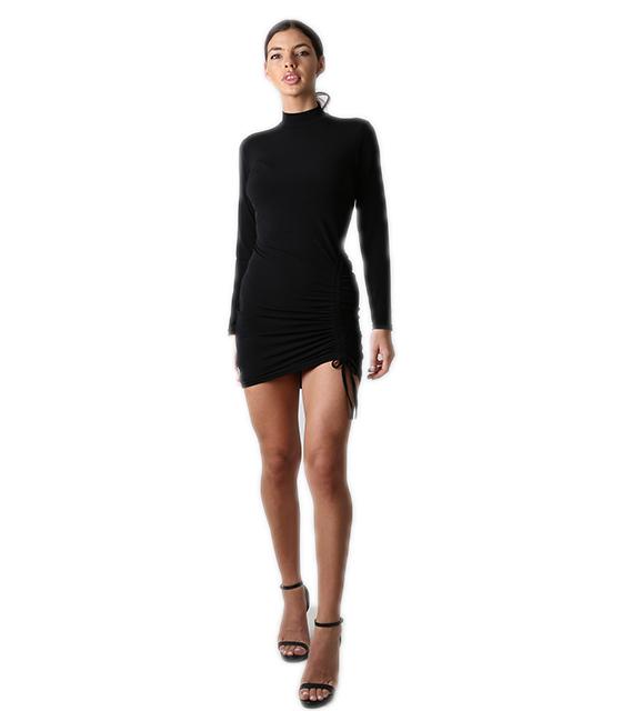 Φόρεμα ζιβάγκο με λεπτομέρεια σούρα (Μαύρο)