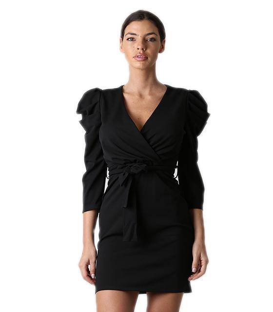 Φόρεμα εφαρμοστό κρουαζέ με φουσκωτά μανίκια (Μαύρο)