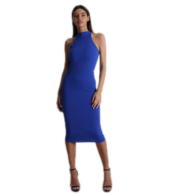 Midi αμάνικο εφαρμοστό φόρεμα Μπλε