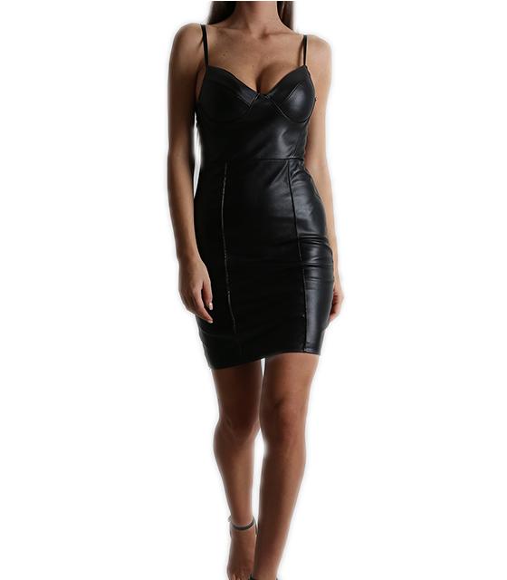 Φόρεμα εφαρμοστό δερματίνη με επένδυση (Μαύρο)