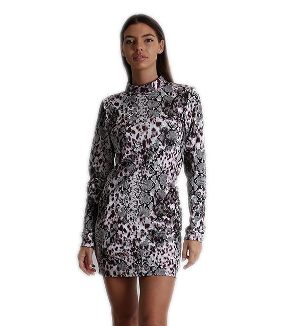 Φόρεμα ζιβάγκο εφαρμοστό μίνι φιδίσιο