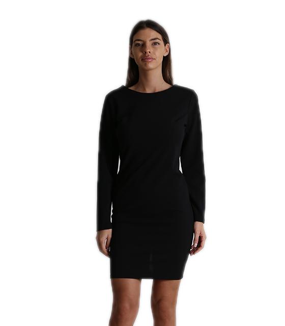 Φόρεμα midi εφαρμοστό με φερμουάρ στο πίσω μέρος (Μαύρο)