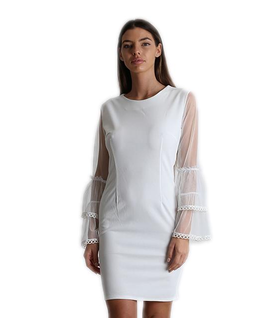 Εφαρμοστό φόρεμα με μανίκια τούλι (Λευκό)