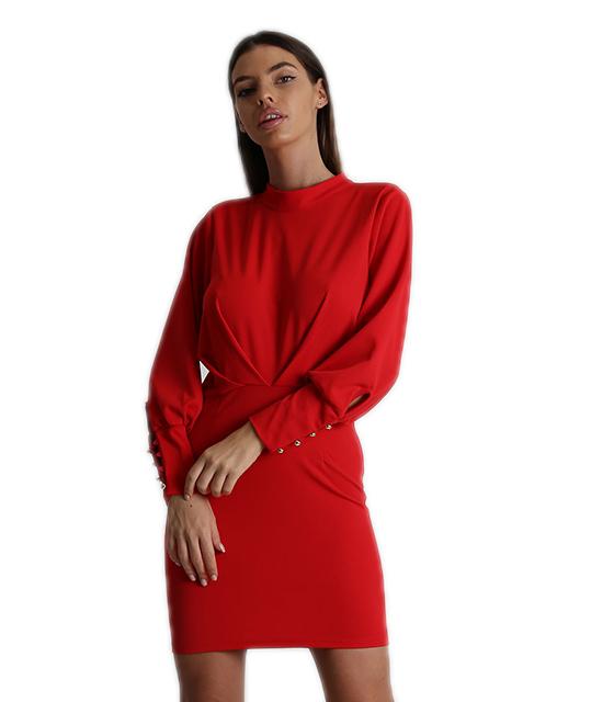 Εφαρμοστό φόρεμα με ανοιχτή πλάτη και φερμουάρ (Κόκκινο)