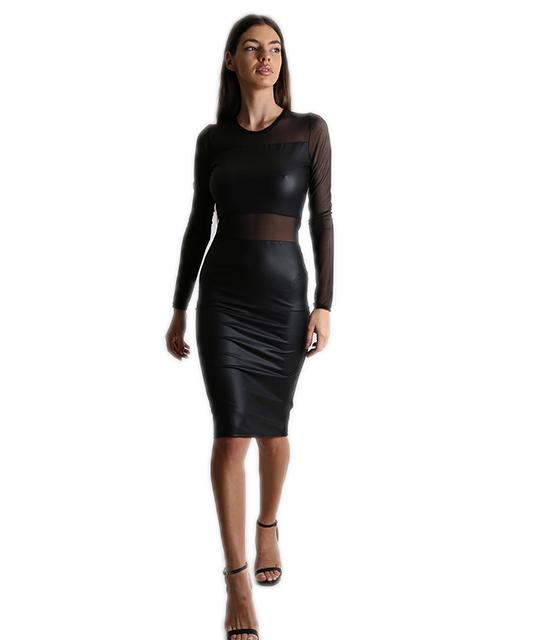 Φόρεμα εφαρμοστό δερματίνη με διαφάνεια (Μαύρο)