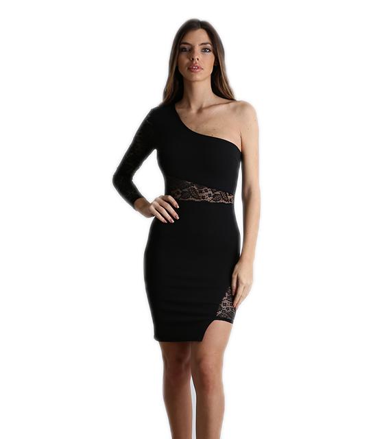 Φόρεμα εφαρμοστό με μανίκι δαντέλα (Μαύρο)