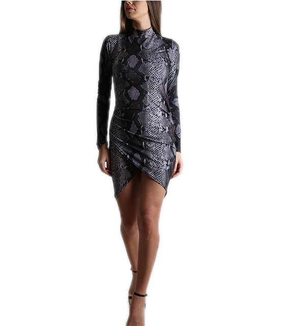 Ασύμμετρο εφαρμοστό φόρεμα ζιβάγκο (Φιδίσιο Γκρι)