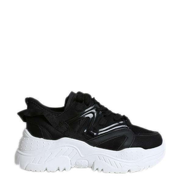 Μαύρο sneakers με λευκό πάτο και κορδόνια