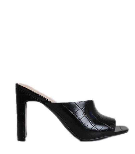 Πέδιλα croco mules (Μαύρο)