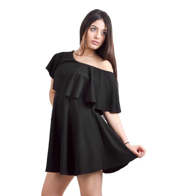 Μαύρο φόρεμα βολάν και κλος φούστα ρούχα   φορέματα